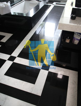 absolute black granite slab floor with white quartzite bands Canberra
