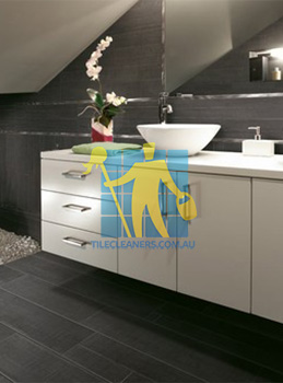 traditional bathroom with barrique series noir wood plank porcelain Woden Valley